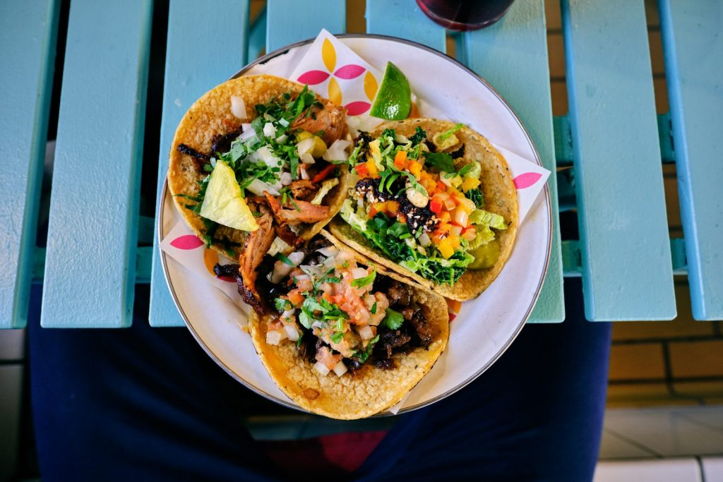 A plate of 3 yummy tacos