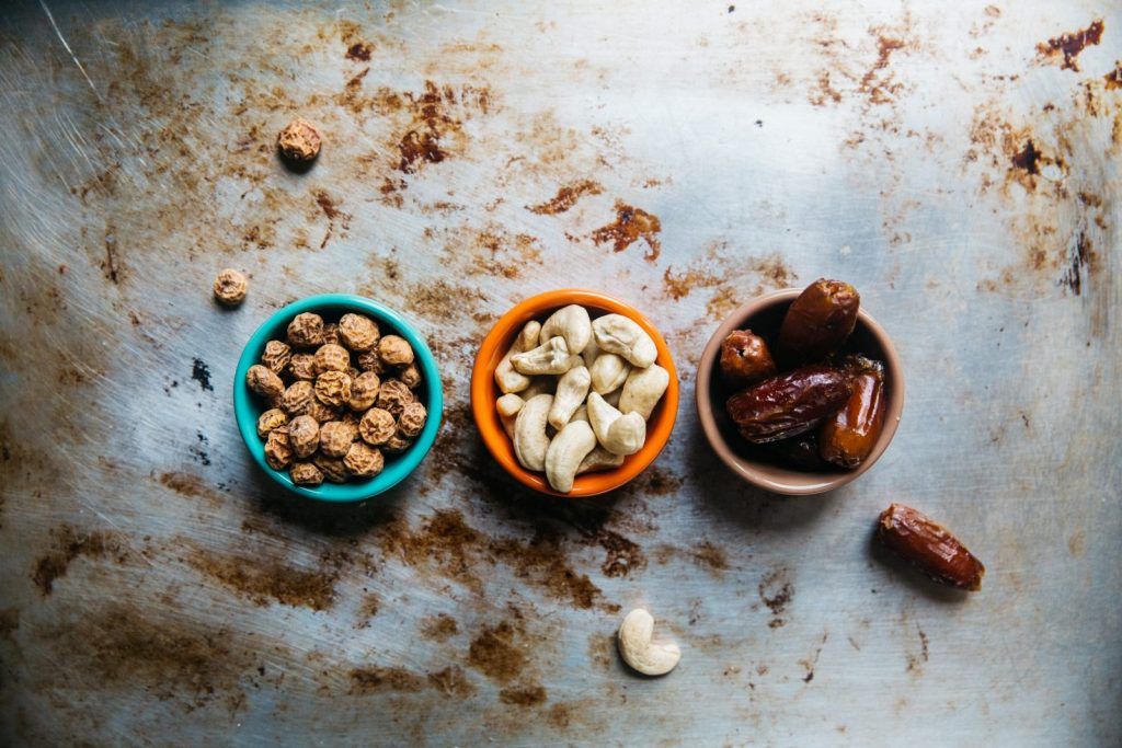 Assorted nuts in small cups
